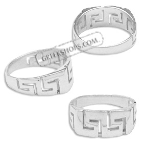 Sterling Silver Ring - Greek Key Square (8mm)