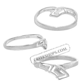 Sterling Silver Ring - Greek Key Stem Overlap