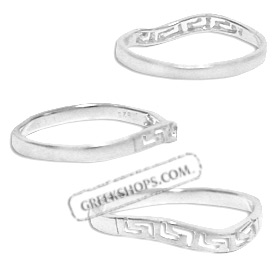 Sterling Silver Ring - Greek Key Wave