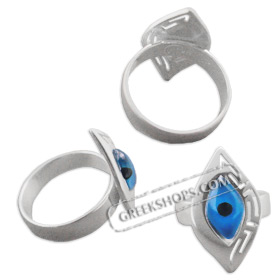Greek Sterling Silver Mati Collection - Ring w/ Evil Eye & Greek Key