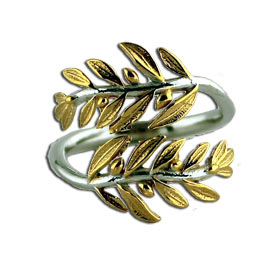 Laurel Wreath Two Tone Sterling Silver Adjustable ring