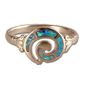 The Neptune Collection - Sterling Silver Ring - Swirl Motif and Opal (12mm)