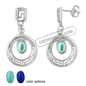 Sterling Silver Earrings - Greek Key Circle with Stone (17mm)