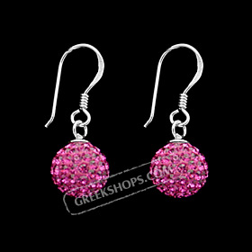 The Rio Collection - Swarovski Crystal Ball Hook Earrings Magenta (10mm)