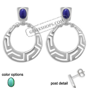 Sterling Silver Earrings - Greek Key Circle with Stone (33mm)