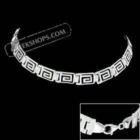 The Athena Collection - Sterling Silver Bracelet - Greek Key Square Links (5mm)