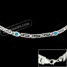 The Neptune Collection - Sterling Silver Bracelet - Greek Key Opal Circle (4mm)