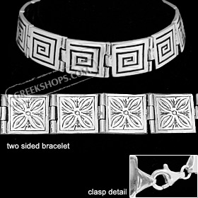 Sterling Silver Bracelet - 2 Sided with Greek Key and Floral Motif (13mm)