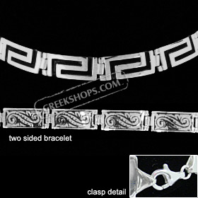 Sterling Silver Bracelet - Two Sided w/ Greek Key and Floral Motif (7mm)
