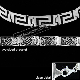 Sterling Silver Bracelet - Two Sided w/ Greek Key and Floral Motif (10mm)