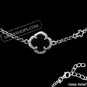 Platinum Plated Sterling Silver Bracelet - Floral Charm w/ Onyx Stone & Cross