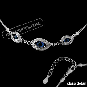 The Amphitrite Collection - Sterling Silver Bracelet - Three Mati Eye w/ Cubic Zirconia