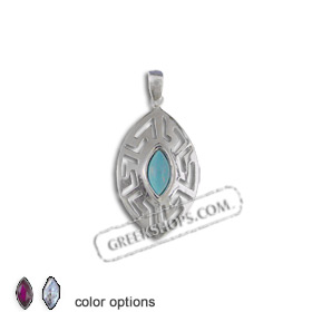 The Alcyone Collection - Sterling Silver Pendant - Greek Key Oval Small (30mm) (Clearance 20% Off)