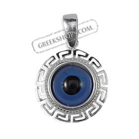 Greekshops greek products sterling silver pendants greek greek sterling silver mati collection round pendant open greek key 18mm audiocablefo