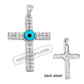 The Amphitrite Collection - Sterling Silver Pendant - Cross with Cubic Zirconia (40mm)