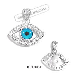 The Amphitrite Collection - Sterling Silver Pendant - Eye with Cubic Zirconia (22mm)