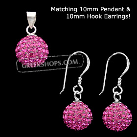 The Rio Collection - Swarovski Crystal Ball Pendant and Hook Earrings Magenta