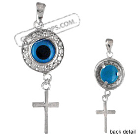 The Amphitrite Collection - Sterling Silver Pendant - Circle Mati w/ Swarovski & Cross (31mm)