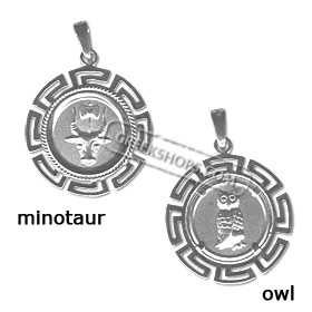 Sterling Silver Pendant - Two-Sided Circular Minotaur & Owl (22mm)