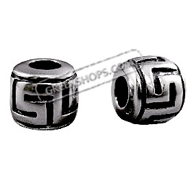 Pandora Compatible Sterling Silver Greek Key Bead (10mm) - Fits all Charm Bracelets
