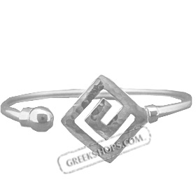 Sterling Silver Cuff Bracelet -  w/ Hammered Greek Key Motif