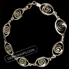 Sterling Silver Spiral Eye Shaped Bracelet
