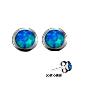 The Neptune Collection - Sterling Silver Earrings - Circle Opal Gem Stone (9mm)