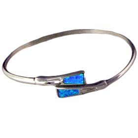 The Neptune Collection - Sterling Silver Cuff Bracelet - Small Opal Gem Stones
