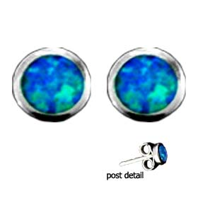 The Neptune Collection - Sterling Silver Earrings - Circle Opal Gem Stone (13mm)