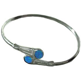 The Neptune Collection - Sterling Silver Cuff Bracelet - Greek Key w/ Circle Opal Gem Stones