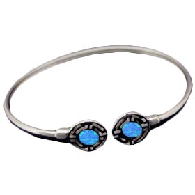 The Neptune Collection - Sterling Silver Cuff Bracelet - Circle Opal Gem Stones w/ Greek Key Motif