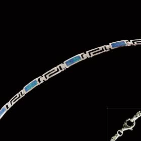 The Neptune Collection - Sterling Silver Bracelet - Greek Key Opal Rectangle (2mm)