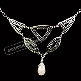 Sterling Silver Necklace with Greek Key Motif Links and Pink Quartz (20mm)
