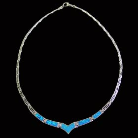The Neptune Collection - Sterling Silver Necklace - Opal & Greek Key Motif Links (5mm)