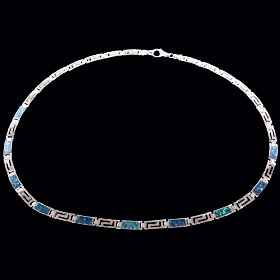 The Neptune Collection - Sterling Silver Necklace - Greek Key Opal Rectangle (5mm)