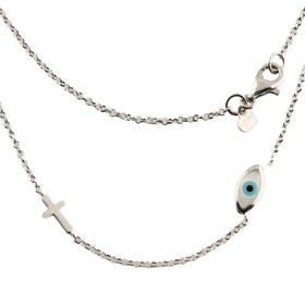 The Amphitrite Collection - Platinum Plated Sterling Silver Necklace - Mother of Pearl Mati & Cross
