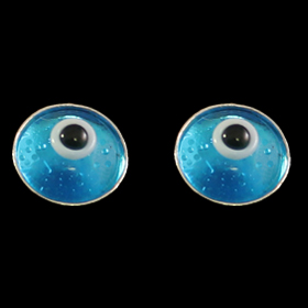 Greek Sterling Silver Mati Collection - Earrings w/ turquoise glass and Evil Eye (7mm)