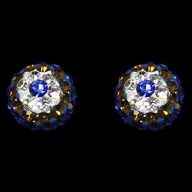 Greek Sterling Silver Mati Collection -  Earrings w/ Swarovski crystals  and Evil Eye (7.5mm)