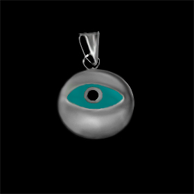 Greek Sterling Silver Mati Collection - Pendant w/ turquise glass and Evil Eye (12mm)