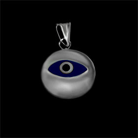 Greek Sterling Silver Mati Collection - Pendant w/ dark blue glass and Evil Eye (12mm)