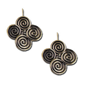 Sterling Silver Quad Minoan Swirl Motif Earrings w/ French Hooks 30mm