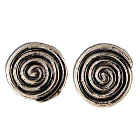 Minoan Swirl Sterling Silver Post Earrings 10mm