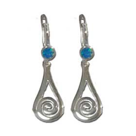The Neptune Collection - Sterling Silver Post Earrings - Opal Minoan Spiral
