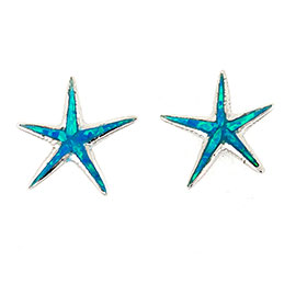 Sterling Silver w/ Natural Opal, Starfish Post Earrings 15mm