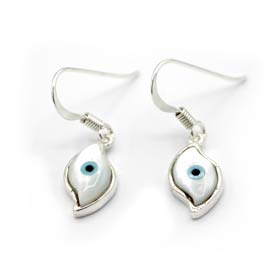 Sterling Silver and Mother of Pearl Evil Eye Earrings w/ French Hooks