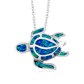 "Sterling Silver and Opal Greek Caretta Turtle Pendant w/ 16"" chain, 20mm"