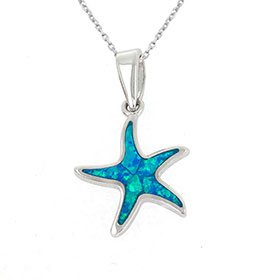 "Sterling Silver and Opal Starfish Pendant w/ 16"" chain, 16mm"