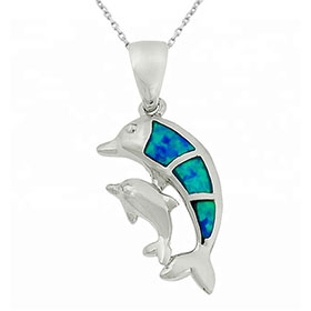 "Sterling Silver and Opal Dual Dolphin Pendant w/ 16"" chain, 16mm"