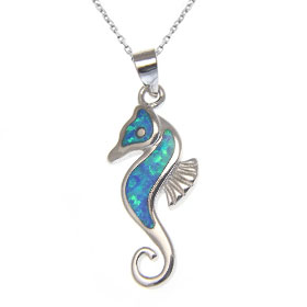 "Sterling Silver and Opal Seahorse 22mm Pendant w/ 16"" Rope Chain"