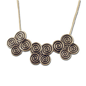 Sterling Silver Quad Minoan Swirl Motif Necklace